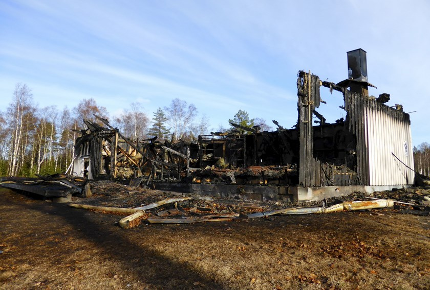 A burned down asylum center is seen in Munkedal, Sweden October 27, 2015. Photo: Reuters/Violette Goarant
