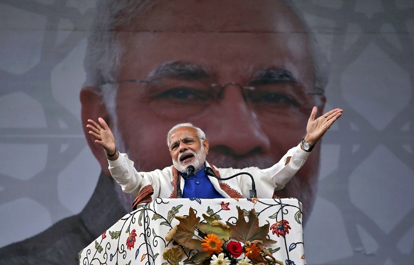 India's Prime Minister Narendra Modi , shown in this November 7, 2015 file photo, will address a mass rally on a visit to Britain this week that supporters hope will help him spring back from a humiliating election loss and reassert his authority on the global stage. Photo: Reuters/Danish Ismail/Files