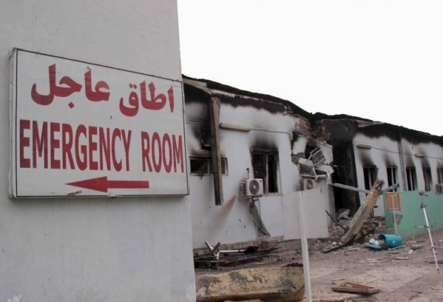 Damaged buildings are seen at the MSF hospital in Kunduz, Afghanistan October 16, 2015. The hour-long air raid on October 3, 2015 killed 22 people, including 12 MSF staff. Photo: Reuters/Stringer
