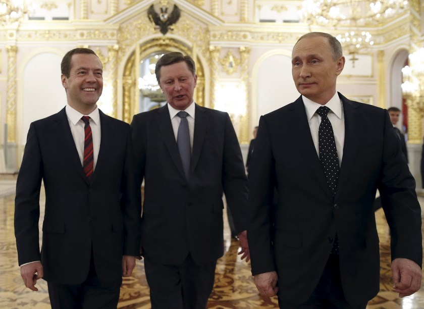(R-L) Russian President Vladimir Putin, Kremlin Chief of Staff Sergei Ivanov and Prime Minister Dmitry Medvedev walk after Putin's address to the Federal Assembly at the Kremlin in Moscow, Russia, December 3, 2015. Photo: Reuters/Dmitry Astakhov/Sputnik/Pool