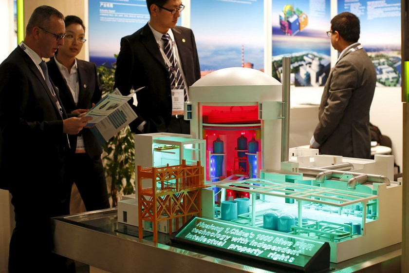 A nuclear power plant station model by China National Nuclear Corporation is pictured at the World Nuclear Exhibition 2014 in Le Bourget, near Paris in this October 14, 2014 file photo. Photo: Reuters/Benoit Tessier/Files