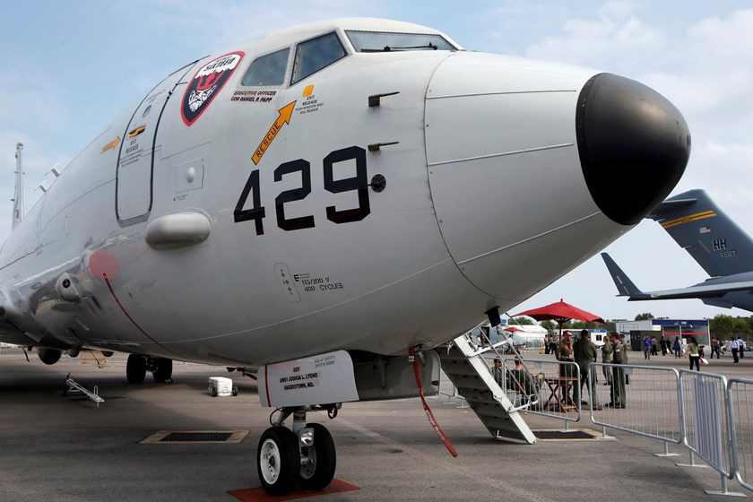 A U.S. Navy Boeing Poseidon P8 aircraft sits on display at the Singapore Airshow in this file photograph dated February 11, 2014. Photo: Reuters/Edgar Su
