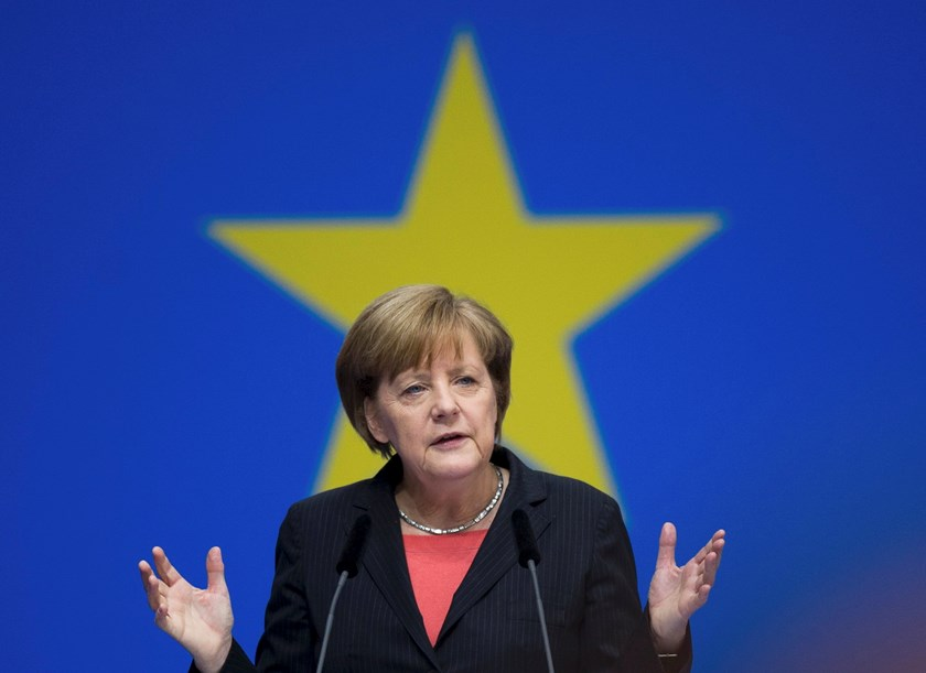 File photo of German Chancellor Angela Merkel, leader of the Christian Democratic Union (CDU), delivering a speech during the CDU congress in Berlin April 5, 2014. Photo: Reuters/Stefanie Loos/Files