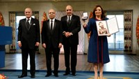The winners of the 2015 Nobel Peace Prize, Tunisian National Dialogue Quartet members, (L-R) Secretary General of the Tunisian General Labour Union (UGTT), Mr. Hussein Abassi, President of the Tunisian Order of Lawyers, Mr. Mohamed Fadhel Mahfoudh, President of the Tunisian Human Rights League, Mr. Abdessattar Ben Moussa and President of the Tunisian Confederation of Industry, Trade and Handicrafts, Mrs. Wided Bouchamaoui pose at the Nobel Peace Prize award ceremony in Oslo, Norway, December 10.
