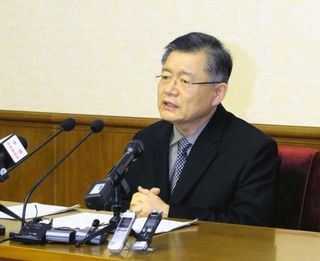 Hyeon Soo Lim speaks during a news conference at the People's Palace of Culture in Pyongyang, in this undated photo released by North Korea's Korean Central News Agency (KCNA) on July 30, 2015. Photo: Reuters/KCNA
