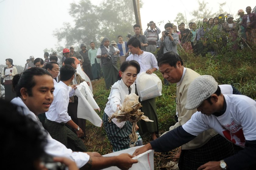 Chairperson of National League for Democracy (NLD) Aung San Suu Kyi (C) clears garbage with NLD party members and local residents during a clean-up in KawHmu township, Yangon on December 13, 2015. Photo: AFP/Ye Aung THU