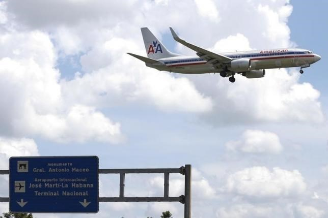 An American Airlines airplane prepares to land at the Jose Marti International Airport in Havana September 19, 2015. Photo: Reuters/Carlos Garcia Rawlins