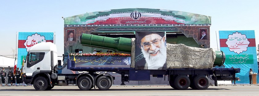 A military truck carrying a missile and a picture of Iran's Supreme Leader Ayatollah Ali Khamenei is seen during a parade marking the anniversary of the Iran-Iraq war (1980-88) in Tehran, in this September 22, 2015 file photo. Photo: Reuters/Raheb Homavandi/TIMA/Files