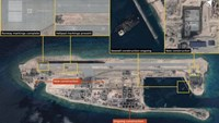 The runway at the Fiery Cross Reef, one of three China was constructing on artificial islands built up from seven reefs and atolls in the Spratlys archipelago, is shown in this IHS Jane's Satellite Imagery Analysis handout image released on January 4, 2016. Photo: Reuters/CNES 2015