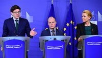 (L-R) German Parliamentary Secretary of State Ole Schroder, Swedish Minister for Justice and Migration Morgan Johannson and Danish Minister for Immigration, Integration and Housing Inger Stojberg hold a press conference at the end of their meeting at the European Commission in Brussels on January 6, 2016. Photo: AFP/Emmanuel Dunand