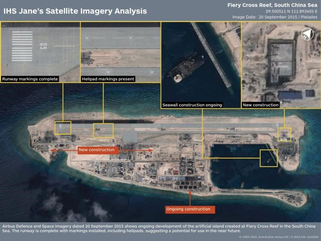 The runway at the Fiery Cross Reef, one of three China was constructing on artificial islands built up from seven reefs and atolls in the Spratlys archipelago, is shown in this IHS Jane's Satellite Imagery Analysis handout image released on January 4, 2016. Photo: Reuters/CNES 2015. Distribution Airbus DS / IHS: 1640203/Handout via Reuters