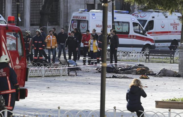 Rescue teams gather at the scene after an explosion in central Istanbul, Turkey January 12, 2016. Photo: Reuters/Kemal Aslan