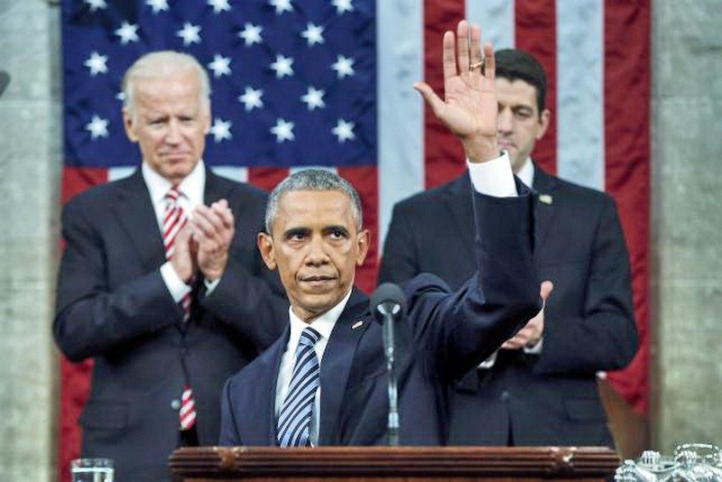 U.S. President Barack Obama waves at the conclusion of his final State of the Union address to a joint session of Congress in Washington January 12, 2016. Photo: Reuters/Evan Vucci/Pool