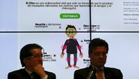 Graph of the symptoms of the Zika virus is seen behind of Colombia's Health Minister Alejandro Gaviria (R) during a news conference on the Zika virus in Bogota, Colombia, January 20, 2016. Photo: Reuters/John Vizcaino