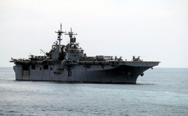 A USS Boxer LHD travels at an offshore location in Goa in this October 29, 2006 file photo. Photo: Reuters/Prashanth Vishwanathan/Files