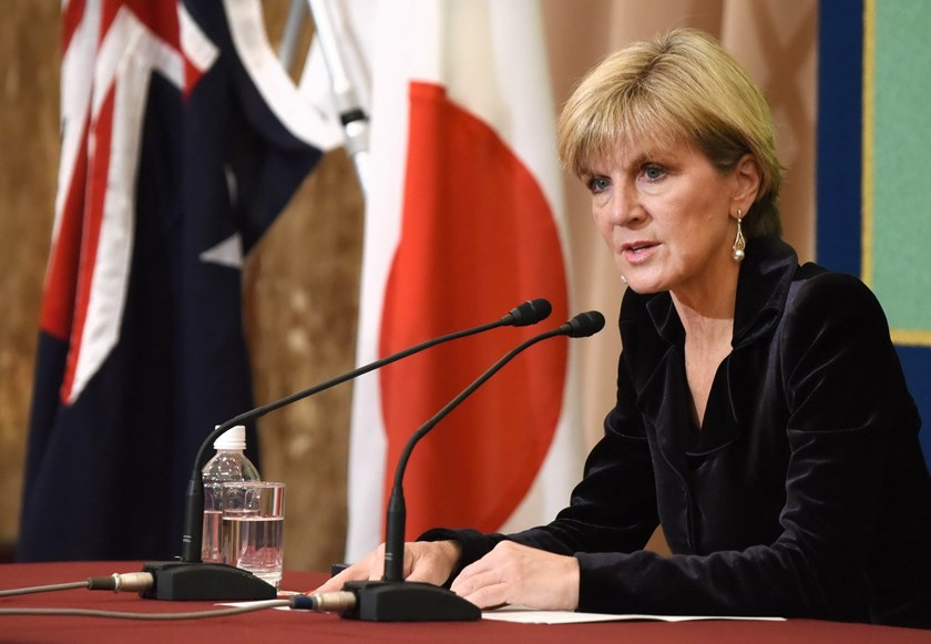 Australia's Foreign Minister Julie Bishop speaks at journalists during a press conference in Tokyo on February 16, 2016. Bishop is here on her first leg of a five-day visit to Japan and China. Photo: AFP/Toru Yamanaka