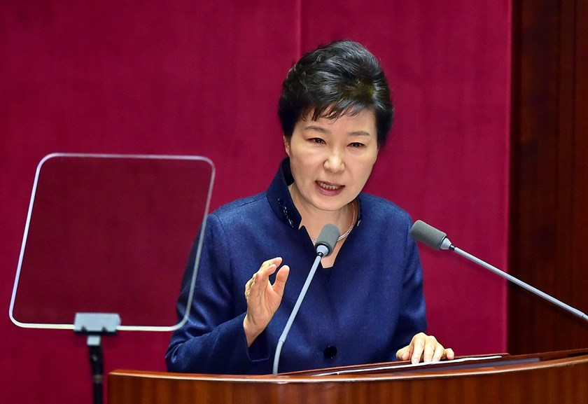 South Korean President Park Geun-Hye delivers a speech at the National Assembly in Seoul on February 16, 2016. Photo: AFP/JUNG YEON-JE