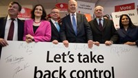 British politicians (L-R) John Whittingdale, Theresa Villiers, Michael Gove, Chris Grayling, Iain Duncan Smith and Priti Patel pose for a photograph at the launch of the Vote Leave campaign, at the group's headquarters in central London, Britain February 20, 2016. Photo: Reuters/Stefan Rousseau
