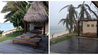 A combination image shows the beachfront villa of tourist Sarah Bingham on February 17, 2016 (L) and after Cyclone Winston struck February 21, 2016 (R) at the Tokoriki Island Resort in Fiji. Photo: Reuters/Sarah Bingham/Handout via R