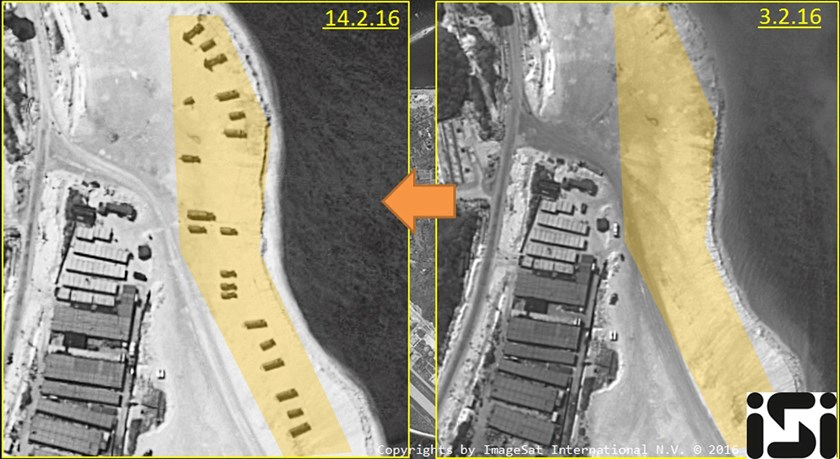 Woody Island, an island in the South China Sea occupied by China and claimed by several other countries, is shown in satellite images taken on February 14, 2016 and February 3, 2016, in this file handout image provided by ImageSat International N.V. 2016, on February 18, 2016. Photo: Reuters/ImageSat International N.V. 2016/Handout via Reuters/Files