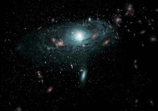 An artist's impression of the galaxies found in the Zone of Avoidance behind the Milky Way is shown in this undated illustration provided to Reuters by the International Centre for Radio Astronomy Research February 24, 2016. Photo: Reuters/ICRAR/Handout via Reuters