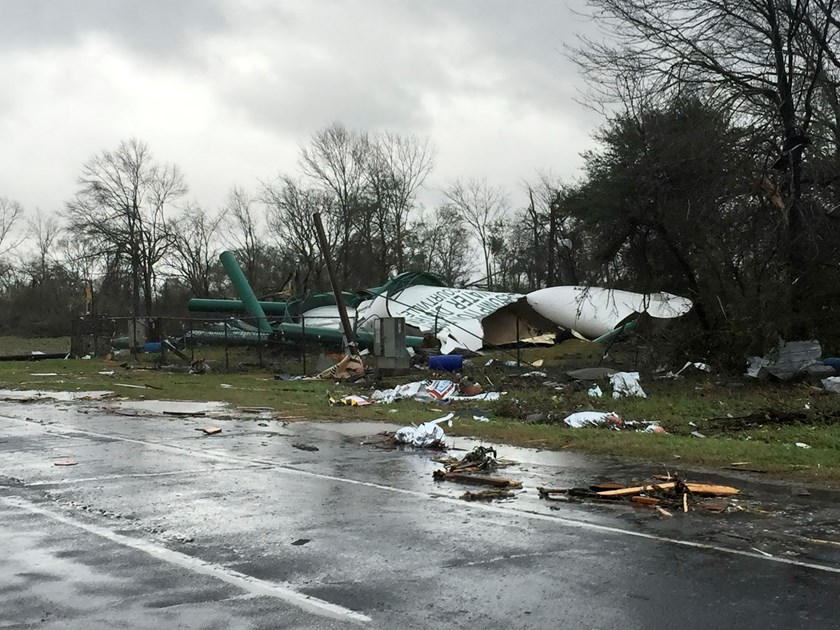 Debris from a damaged water tower is shown in this handout photo provided by Assumption Parish Sheriff's Office, west of New Orleans, Louisiana, February 23, 2016. Photo: Reuters/Assumption Parish/Handout via Reuters