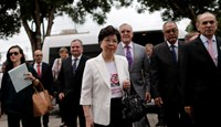 World Health Organization (WHO) Director-General Margaret Chan (C) and Brazil's Health Minister Marcelo Castro (R) arrive at the IMIP hospital in Recife, Brazil February 24, 2016. Photo: Reuters/Ueslei Marcelino