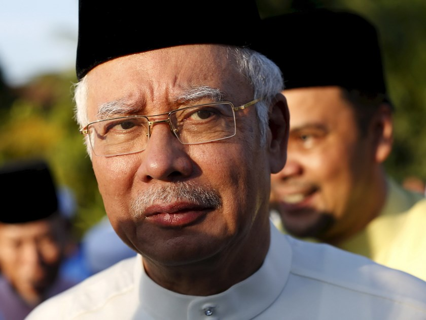 Malaysia's Prime Minister Najib Razak arrives for a news conference at a mosque outside Kuala Lumpur, Malaysia, in this July 5, 2015 file photo. Photo: Reuters/Olivia Harris/Files