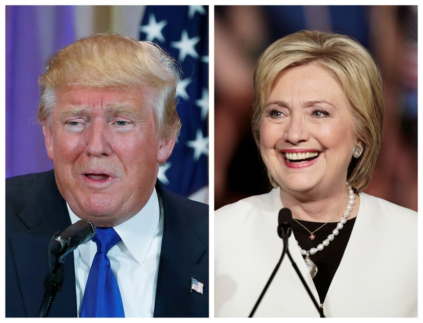 A combination photo shows Republican U.S. presidential candidate Donald Trump (L) in Palm Beach, Florida and Democratic U.S. presidential candidate Hillary Clinton (R) in Miami, Florida at their respective Super Tuesday primaries campaign events on March 1, 2016. Photo: Reuters/Scott Audette (L), Javier Galeano (R)