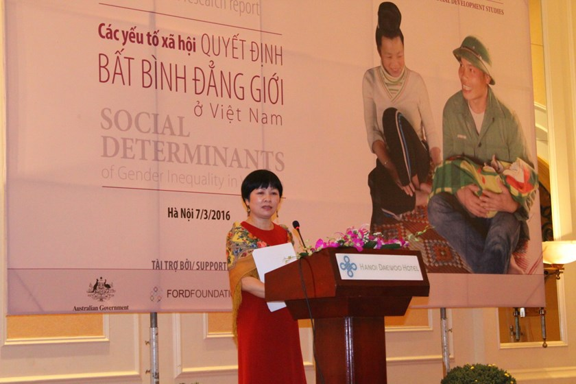 Khuat Thu Hong, director of the Institute for Social Development Studies, which conducted a large-scale study on social factors determining gender inequality in Vietnam from 2013-2015. Photo: Thuy Linh