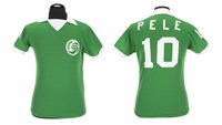 "A green Umbro brand New York Cosmos football jersey number ""10"" worn by Pele during the 1976 North American Soccer League (NASL) season is shown in this handout image released on March 8, 2016. Photo: Reuters/Julien's Auctions/Handout via Reuters"