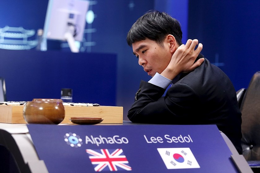 The world's top Go player Lee Sedol reviews the match after the fourth match of the Google DeepMind Challenge Match against Google's artificial intelligence program AlphaGo in Seoul, South Korea, in this handout picture provided by Google and released by News1 on March 13, 2016. Photo: Reuters/Google/News1