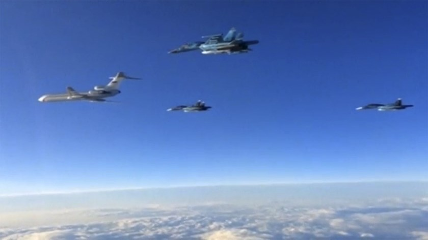 Russian military jets fly above unidentified location after taking off from the country's air base in Hmeymin, Syria to head back to Russia, part of a partial withdrawal ordered by President Vladimir Putin, in this still image taken from video March 15, 2016. Photo: Reuters/Russian Ministry of Defense via Reuters