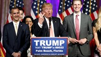 Republican U.S. presidential candidate Donald Trump stands between his campaign manager Corey Lewandowski (L) and his son Eric (R) as he speaks about the results of the Florida, Ohio, North Carolina, Illinois and Missouri primary elections during a news conference held at his Mar-A-Lago Club in Palm Beach, Florida, March 15, 2016. Photo: Reuters/Joe Skipper