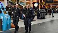 Armed police is seen on patrol as police and airport's own security personnel have increased patrols at Copenhagen Airport, Denmark March 22 2016. Photo: Reuters/Liselotte Sabroe/Scanpix Denmark