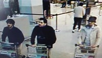 A young man in a hat caught on CCTV pushing a luggage trolley at Belgium's Zaventem airport alongside two others who, investigators said, had later blown themselves up in the terminal.Photo: Reuters/Belgian Federal Police