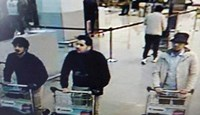 This CCTV image from the Brussels Airport surveillance cameras made available by Belgian Police, shows what officials believe may be suspects in the Brussels airport attack on March 22, 2016. Photo: Reuters/CCTV/Handout via Reuters