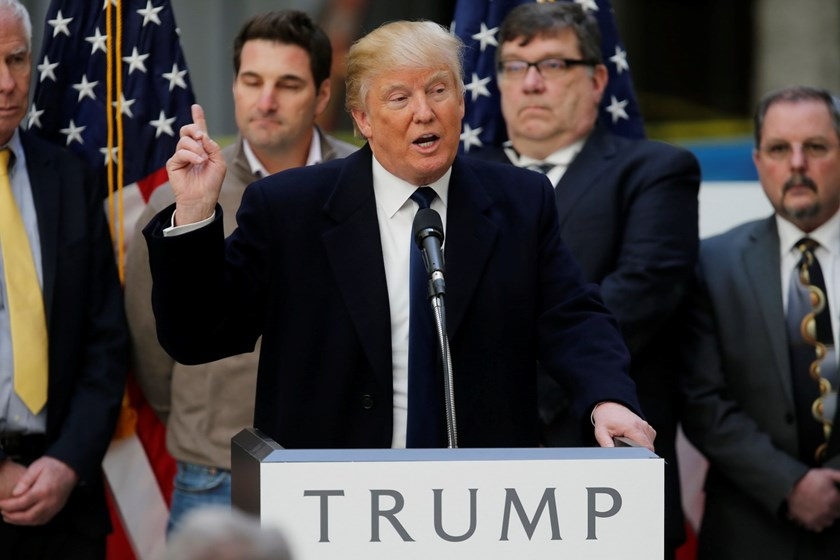 Republican U.S. presidential candidate Donald Trump speaks during a news conference in Washington, in this file photo taken March 21, 2016. Photo: Reuters/Jim Bourg/Files