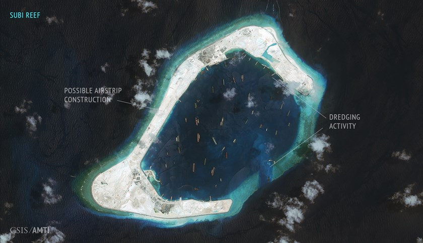 A file photo taken on September 3, 2015 shows possible runway construction ongoing on the western rim of the Subi Reef. Photo:CSIS/AMTI