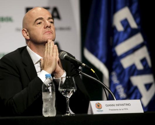 FIFA President Gianni Infantino gestures during a news conference at the South American Football Confederation (CONMEBOL) headquarters in Luque, Paraguay in this March 28, 2016 file picture. Photo: Reuters/Jorge Adorno/Files