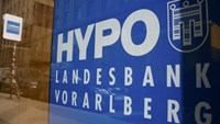 The logo of Hypo Landesbank Vorarlberg is pictured in the window of one of its branches in Vienna, Austria, April 4, 2016. Photo: Reuters/Leonhard Foeger