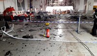 Damage is seen inside the departure terminal following the March 22, 2016 bombing at Zaventem Airport, in these undated photos made available to Reuters by the Belgian newspaper Het Nieuwsblad, in Brussels, Belgium, March 29, 2016. Photo: Het Nieuwsblad via Reuters