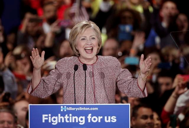 Democratic presidential candidate Hillary Clinton reacts as she arrives onstage at her New York presidential primary night rally in the Manhattan borough of New York City, U.S., April 19, 2016. Photo: Reuters/Mike Segar