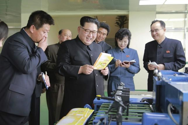North Korean leader Kim Jong Un gives field guidance during his visit to the newly built Mindulle Notebook Factory in this undated photo released by North Korea's Korean Central News Agency (KCNA) in Pyongyang on April 19, 2016. Photo: KCNA/ via Reuters