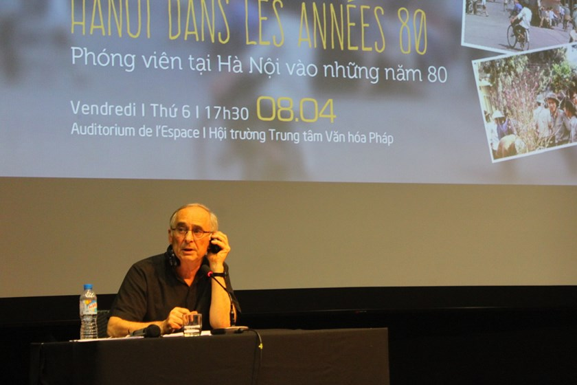 Michel Blanchard, the former AFP bureau chief in Hanoi speaks before the opening of his photo exhibition at the French Institute in Hanoi (L'Espace) April 8, 2016. Photo: Thuy Linh