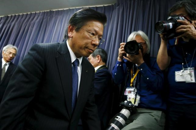 Mitsubishi Motors Corp's President Tetsuro Aikawa attends a news conference at the transport ministry in Tokyo, Japan, April 26, 2016. Photo: Reuters/Thomas Peter