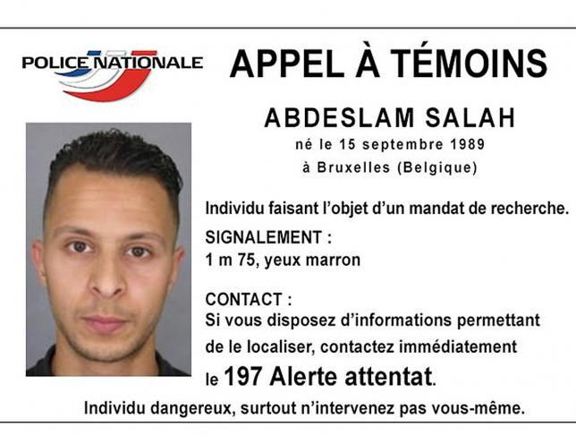 Handout file picture shows Belgian-born Salah Abdeslam on a call for witnesses notice released by the French Police Nationale information services on their twitter account November 15, 2015. Photo: Reuters/Police Nationale/Handout via Reuters