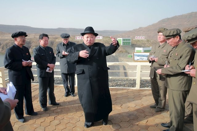 North Korean leader Kim Jong Un visits the Paektusan Hero Youth Power Station No. 3 in this undated photo released by North Korea's Korean Central News Agency (KCNA) in Pyongyang on April 23, 2016. Photo: KCNA/via REUTERS