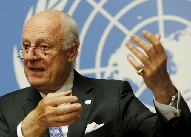 U.N. mediator Staffan de Mistura attends a news conference after the conclusion of a round of meetings during the Syria Peace talks at the United Nations in Geneva, Switzerland, April 28, 2016. Photo: Reuters/Denis Balibouse