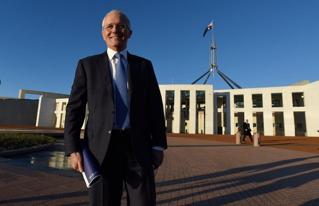 Australian Prime Minister Malcolm Turnbull stands outside Australia's Parliament House in Canberra May 4, 2016 following the announcement Australia's 2016-17 Federal Budget. Photo: AAP/Sam Mooy/via REUTERS